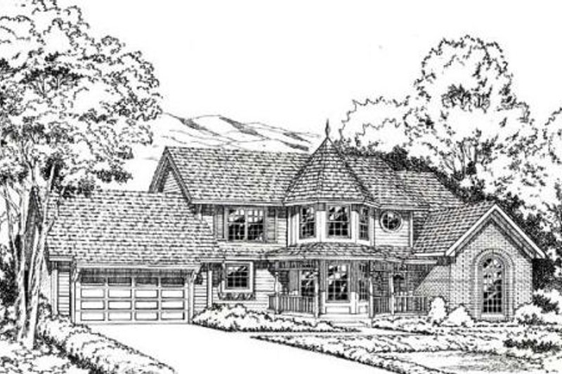 Traditional Style House Plan - 4 Beds 2.5 Baths 2882 Sq/Ft Plan #312-122 Exterior - Front Elevation