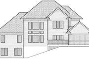 European Style House Plan - 4 Beds 3.5 Baths 3142 Sq/Ft Plan #70-606 Exterior - Rear Elevation
