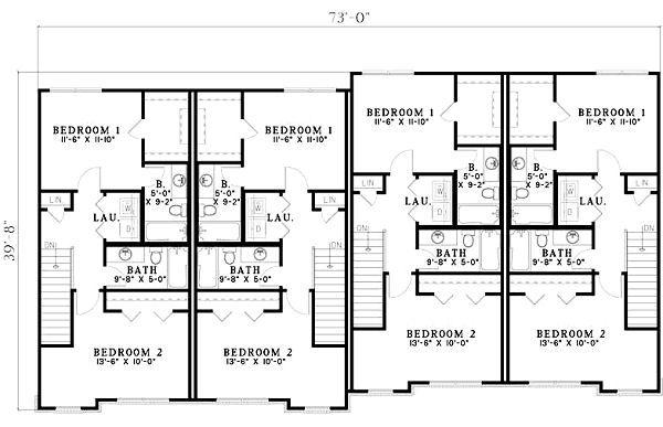 Traditional Floor Plan - Upper Floor Plan Plan #17-1173