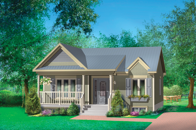 Country Style House Plan - 2 Beds 1 Baths 806 Sq/Ft Plan #25-4451 Exterior - Front Elevation