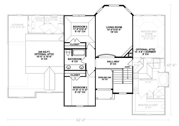Mediterranean Floor Plan - Upper Floor Plan Plan #20-256