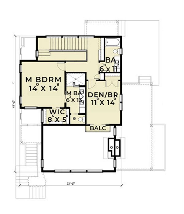 Contemporary Floor Plan - Upper Floor Plan Plan #1070-7