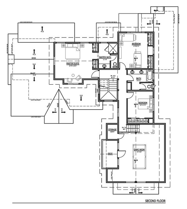 Craftsman Floor Plan - Upper Floor Plan Plan #899-2
