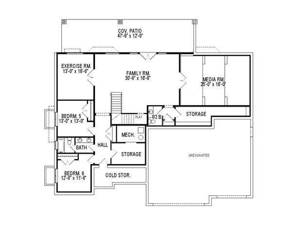 Traditional Floor Plan - Lower Floor Plan Plan #920-78