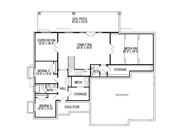House Plan Design - Traditional Floor Plan - Lower Floor Plan #920-78