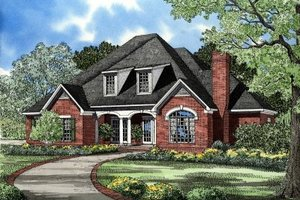 European Exterior - Front Elevation Plan #17-228