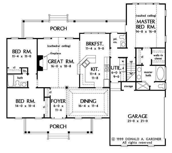 Country Floor Plan - Main Floor Plan #929-11