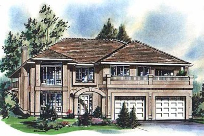 House Blueprint - European Exterior - Front Elevation Plan #18-209