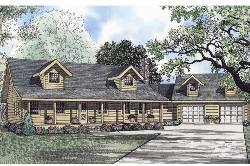 Log Exterior - Front Elevation Plan #17-2945 - Houseplans.com