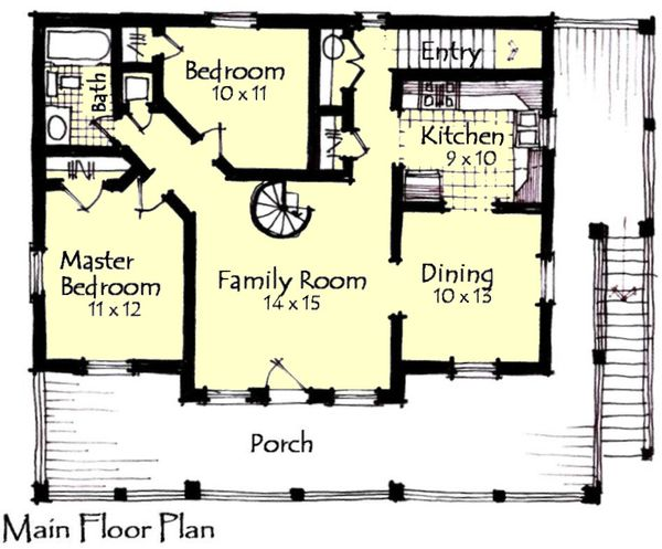 Craftsman Floor Plan - Main Floor Plan Plan #921-16
