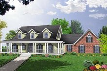 Country Exterior - Front Elevation Plan #40-340
