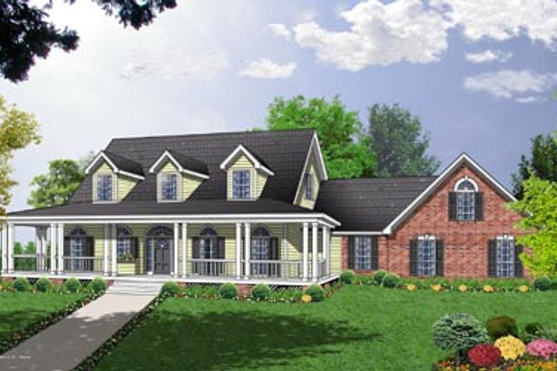 Country Exterior - Front Elevation Plan #40-340 - Houseplans.com