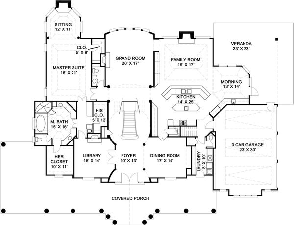 Southern Floor Plan - Main Floor Plan Plan #119-198