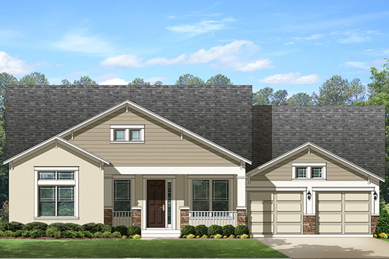 Ranch Exterior - Front Elevation Plan #1058-145