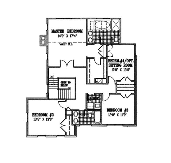 Colonial Floor Plan - Upper Floor Plan Plan #953-82
