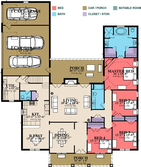 House Plan Design - Southern Floor Plan - Main Floor Plan #63-370