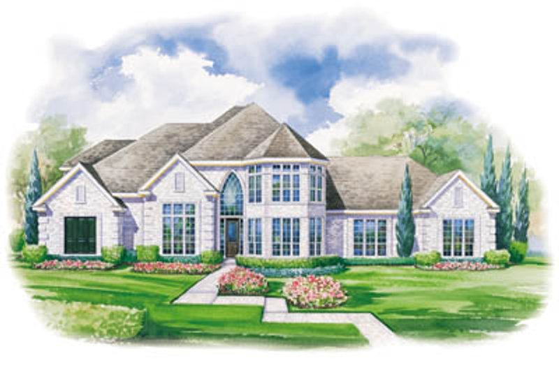 European Style House Plan - 4 Beds 3.5 Baths 3323 Sq/Ft Plan #20-1114 Exterior - Front Elevation