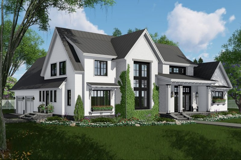 Farmhouse Style House Plan - 4 Beds 2.5 Baths 2837 Sq/Ft Plan #51-1136 Exterior - Front Elevation