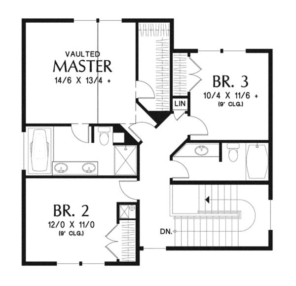 Craftsman Floor Plan - Upper Floor Plan Plan #48-911