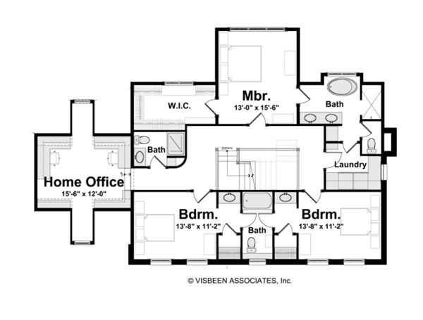 Classical Floor Plan - Upper Floor Plan Plan #928-240