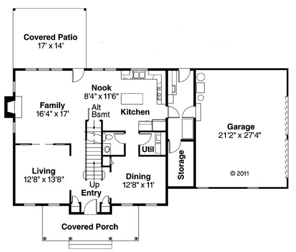 Colonial Floor Plan - Main Floor Plan Plan #124-443