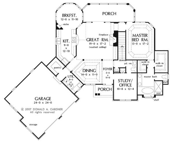 Craftsman Floor Plan - Main Floor Plan Plan #929-909