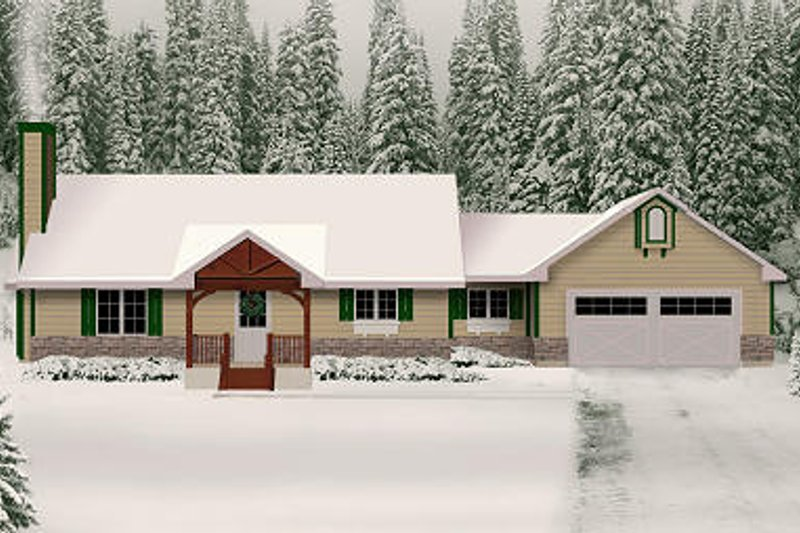 Ranch Style House Plan - 2 Beds 2 Baths 1217 Sq/Ft Plan #22-511 Exterior - Front Elevation