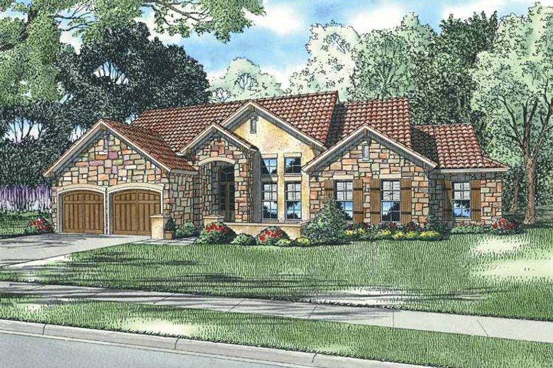 Dream House Plan - Mediterranean Exterior - Front Elevation Plan #17-2927
