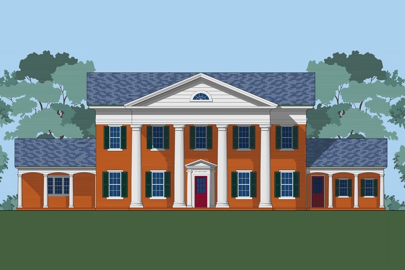 Classical Style House Plan - 5 Beds 2.5 Baths 4250 Sq/Ft Plan #492-4 Exterior - Front Elevation