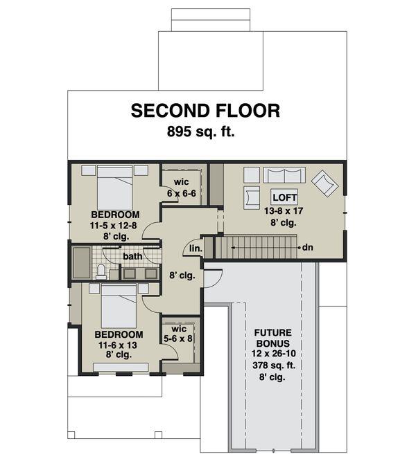 Farmhouse Floor Plan - Upper Floor Plan #51-1166