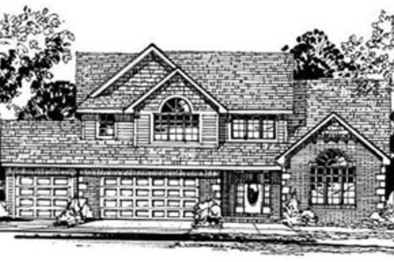 Traditional Style House Plan - 3 Beds 2.5 Baths 2348 Sq/Ft Plan #50-214 Exterior - Front Elevation