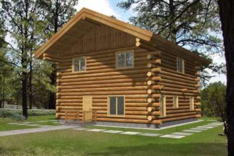Log Exterior - Front Elevation Plan #117-473