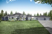 Prairie Style House Plan - 3 Beds 4 Baths 3622 Sq/Ft Plan #124-1160 Exterior - Front Elevation