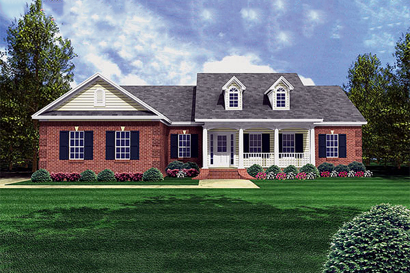Home Plan - Southern style, country design home, front elevation