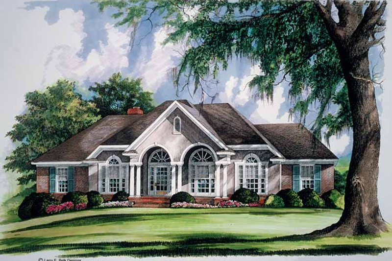 Adobe / Southwestern Exterior - Front Elevation Plan #952-237