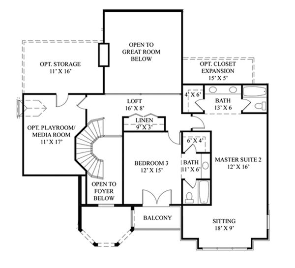House Plan Design - European Floor Plan - Upper Floor Plan #119-417