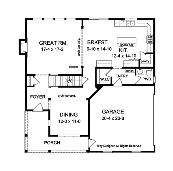 Colonial Floor Plan - Main Floor Plan Plan #1010-130