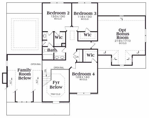 Craftsman Floor Plan - Upper Floor Plan Plan #419-177