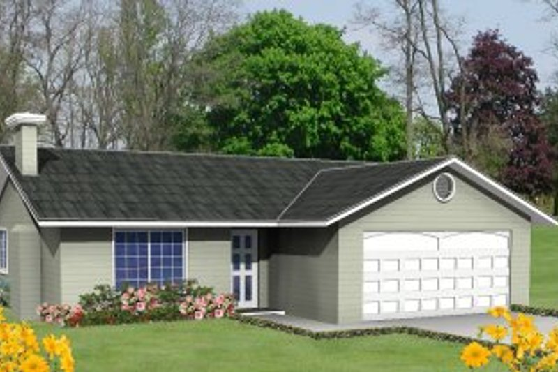 Ranch Style House Plan - 2 Beds 2 Baths 1163 Sq/Ft Plan #1-187 Exterior - Front Elevation