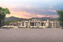 Adobe / Southwestern Exterior - Front Elevation Plan #72-482