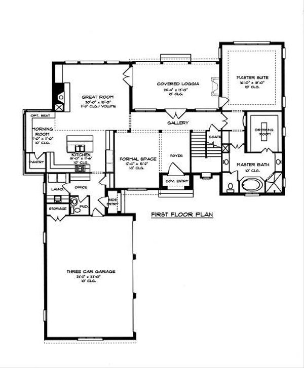 European Floor Plan - Main Floor Plan Plan #413-143