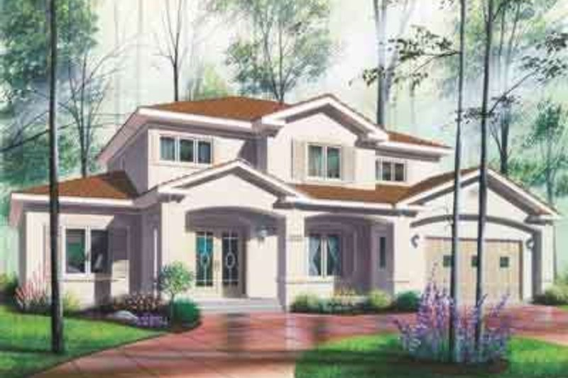 Mediterranean Exterior - Front Elevation Plan #23-284