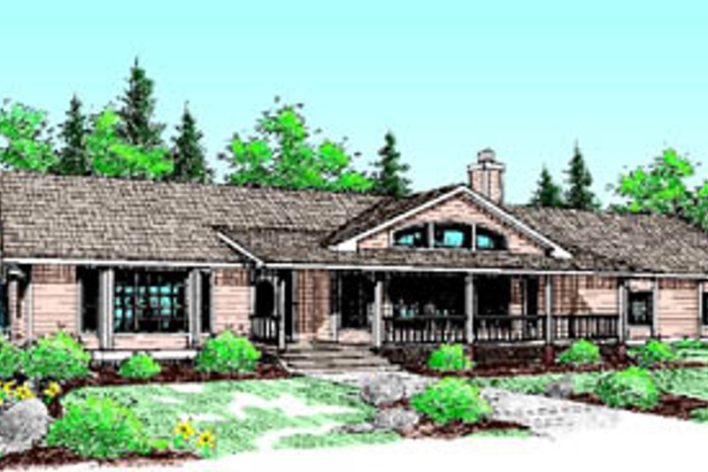 Ranch Exterior - Front Elevation Plan #60-196 - Houseplans.com