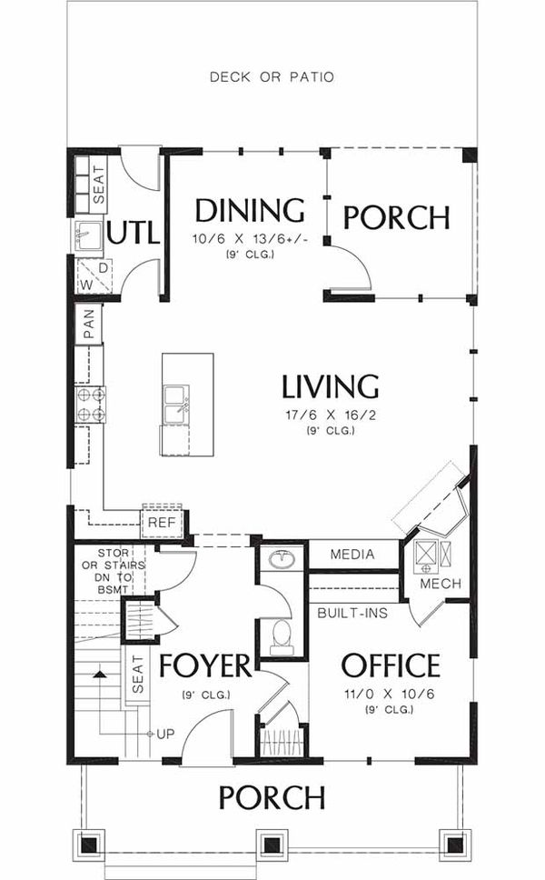 Craftsman Floor Plan - Main Floor Plan Plan #48-489