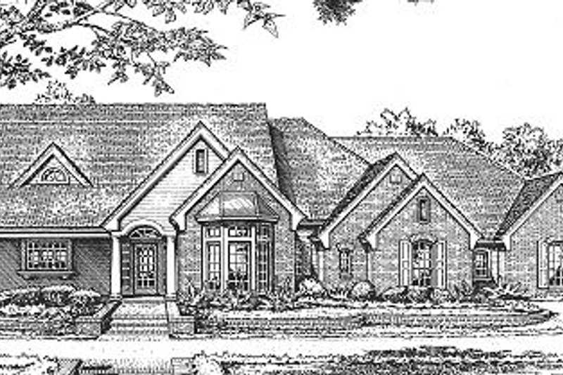 Traditional Style House Plan - 3 Beds 2.5 Baths 2086 Sq/Ft Plan #310-609 Exterior - Front Elevation