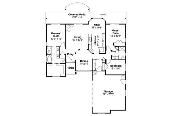 House Plan Design - Mediterranean Floor Plan - Main Floor Plan #124-1021