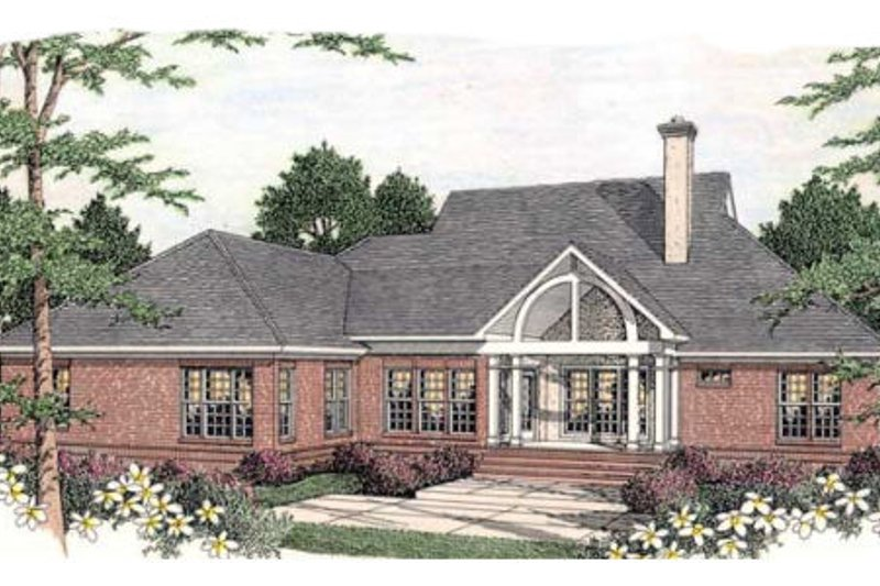 Southern Exterior - Rear Elevation Plan #406-296 - Houseplans.com
