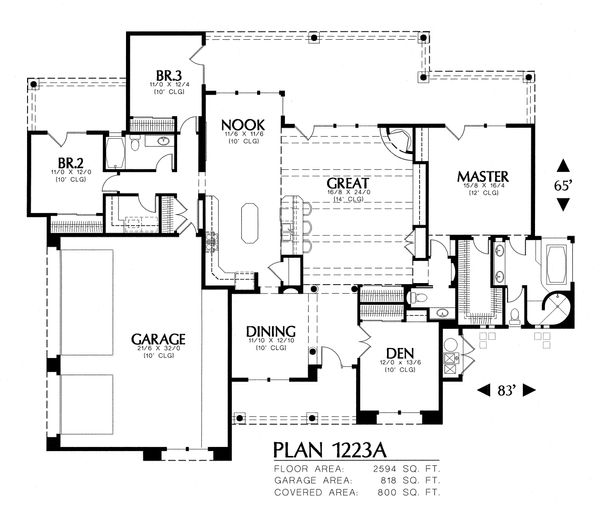 Adobe / Southwestern Floor Plan - Main Floor Plan Plan #4-117