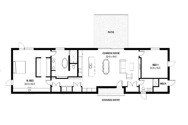 Modern Floor Plan - Main Floor Plan Plan #497-34