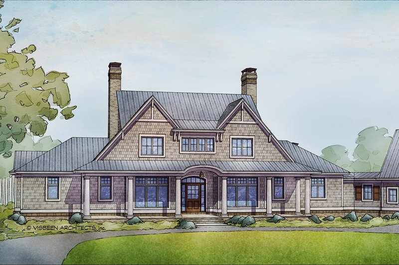 Country Style House Plan - 4 Beds 4 Baths 5274 Sq/Ft Plan #928-307 Exterior - Front Elevation